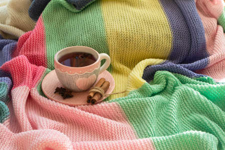 Autumn concept, mug of tea with spices and a chunky knit woolen colorful background. Stockfoto