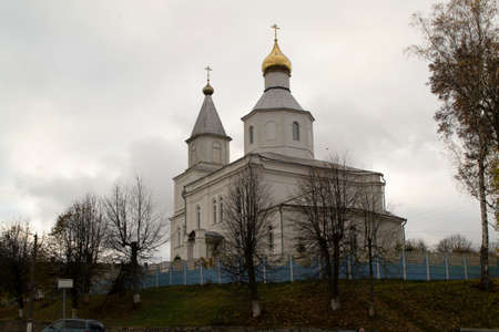 Old white St. Nicholas ortodox Church in Logoisk, Belarus