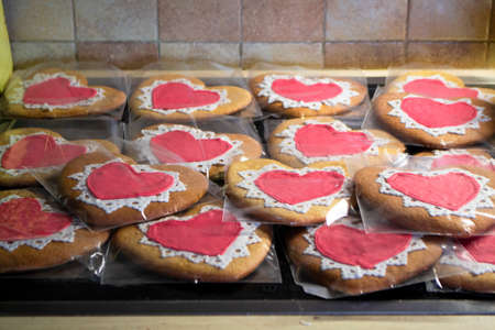 Ginger Heart shaped cookies for Valentine's Day. Home made concept