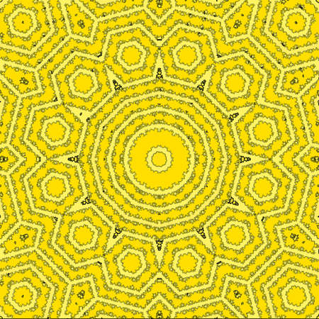 Sun from tile pattern, a specific geometric figure in mathematics, yellow background