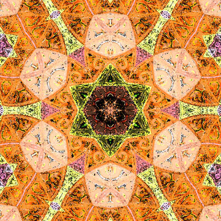 Orange tile pattern in traditional arabesque style