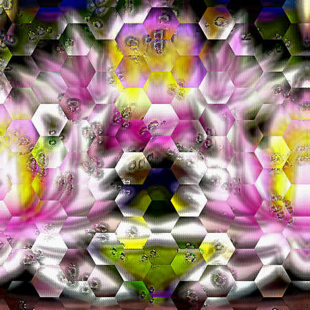 abstract hexagonal background texture with colorful symmetrical shapes