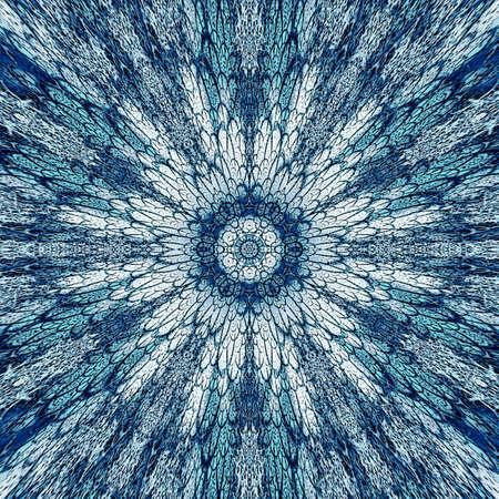Mandala pattern. Watercolor russian blue ethnic background. Watercolor circle. Stockfoto