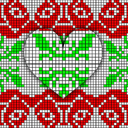 Abstract imitation of the vintage blanket with embroidery Rose and heart ornate. Cross stitch rose. Cross-stitch. Belarus pattern