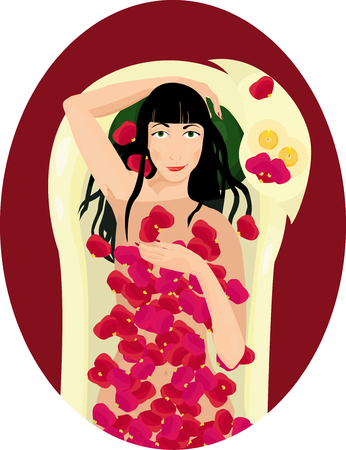 dark haired woman: dark haired woman taking a bath with rose petals