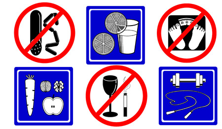 Healthy lifestyle icons, stylized traffic signs Vector