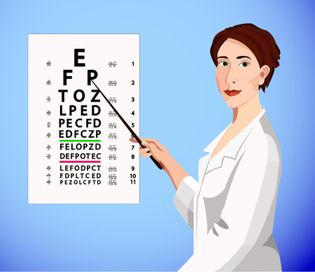 myopia: Pretty woman in the white medical gown shows by pointer the eye char Illustration