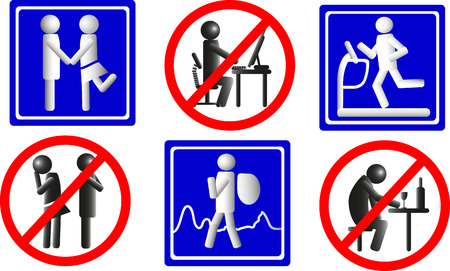 strife: Healthy lifestyle icons, stylized traffic signs