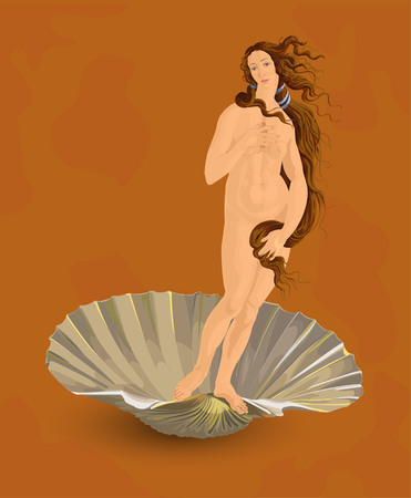 Manual tracing figures of Venus (painting The birth of Venus by Botticelli). Illustration use transparency and blending modes only for drop shadows. Does not contain gradient mesh.