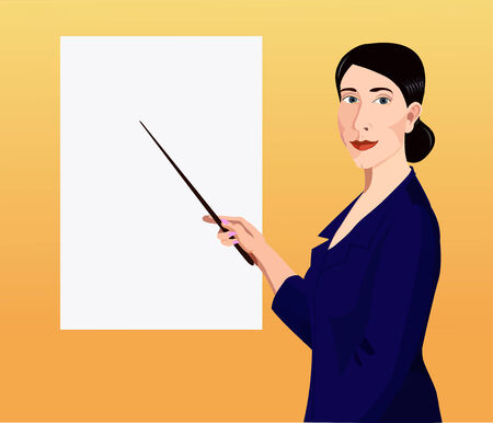Dark-haired woman dressed in a business suit shows by pointer to the chart Illustration
