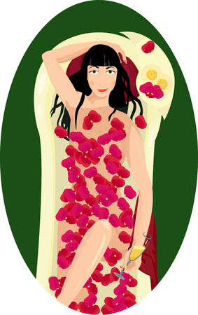 black haired: Young dark haired woman taking a bath with rose petals and drinking champagne