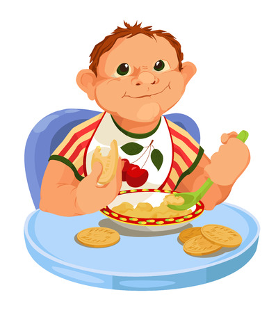 Baby is eating a breakfast  Cartoon vector with eating child  Vector