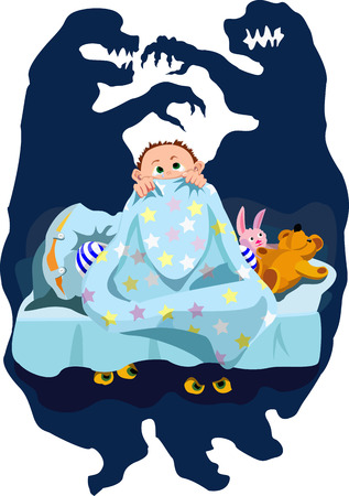 disturbing: Baby fea  Child is afraid of the dark  He seems that the monster lurking under the bed Illustration does not contain transparency, blending modes and gradient mesh  Illustration