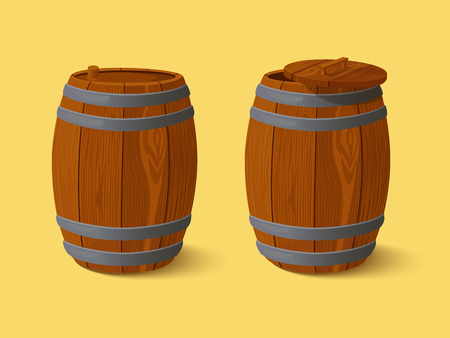 modes: Wooden barrel  Vector EPS10  Illustration use transparency and blending modes for drop shadow