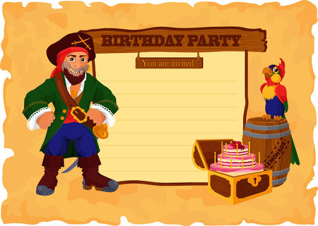 Invitation card for birthday party, decorated with cartoon pirate, cake and a wooden barrel of lemonade  Vector