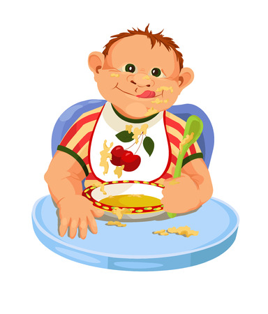 Child is eating porridge  Cartoon vector with eating baby  Vector