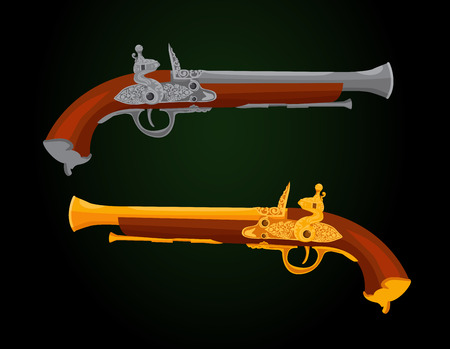 18th: Pistols of 18th century  Illustration does not contain transparency, blending modes and gradient mesh