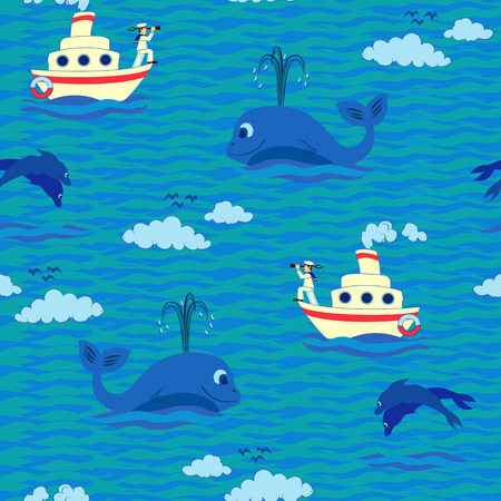 Funny kids seamless pattern with steamer, young captain and whale  Vector