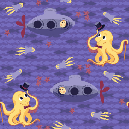 Funny kids seamless pattern with submarine and friendly octopus Vector
