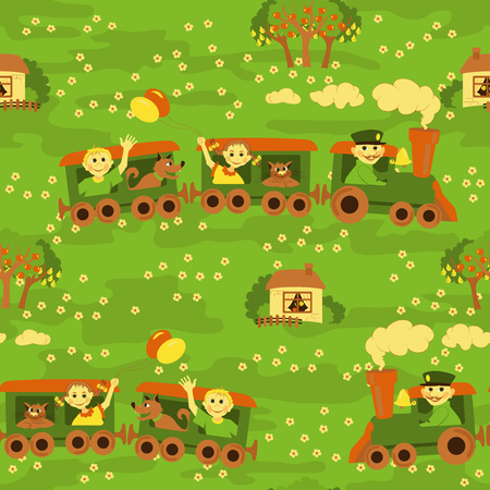 Funny kids seamless pattern with smiling children traveling by train Vector