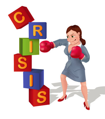 smashing: Businesswoman is prevailing over crisis. Businesswoman in boxing gloves is smashing crisis.