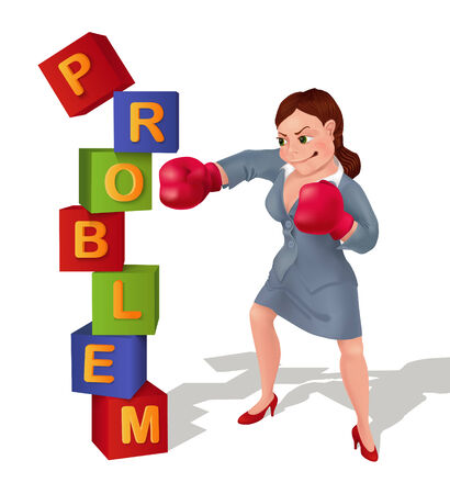 Businesswoman is prevailing over problem. Businesswoman in boxing gloves is smashing problem.  Vector