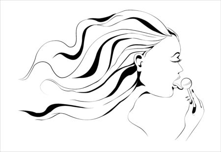 lollypop: Girl with lollypop outline. Vector image