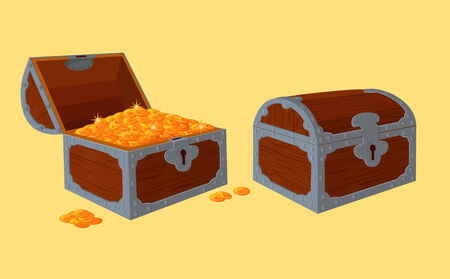Opened and closed chests with treasure. Illustration does not contain transparency, blending modes and gradient mesh.