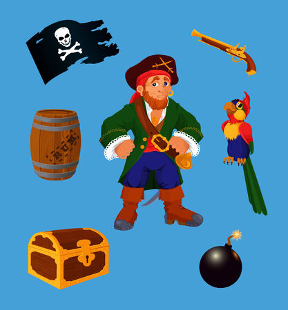 barrel bomb:  Collection of pirate design elements. Each object on own layer. Illustration