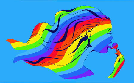 lollypop: Rainbow girl with lollypop. Vector image