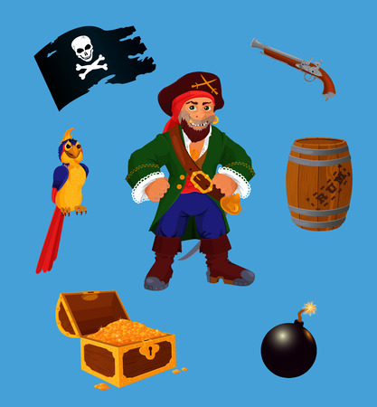 Set of pirate design elements. Collection of pirate design elements. Each object on own layer. Illustration