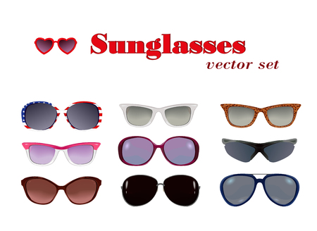 malibu: Sunglasses set in white.  Vector set of sunglasses different shapes and colors. Each object is in own layer.