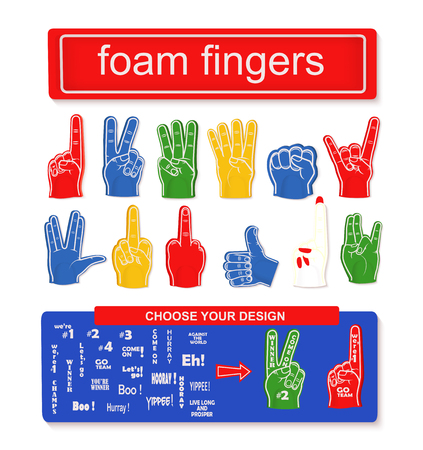 Foam finger set Collection of different foam hands Illustration