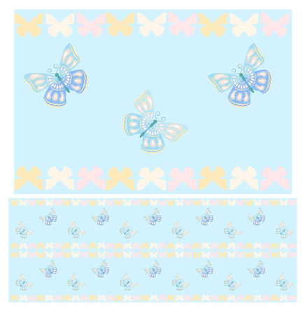 marvelous: Blue butterflies seamless pattern. Pattern with wonderful butterflies for your design. Vector