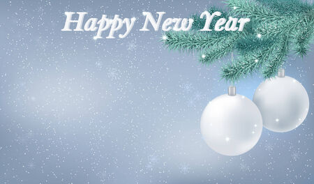 Happy New Year snow background. Vector. Holyday winter background decorated with fir branch, Christmas tree decorations and snowflakes. Vector