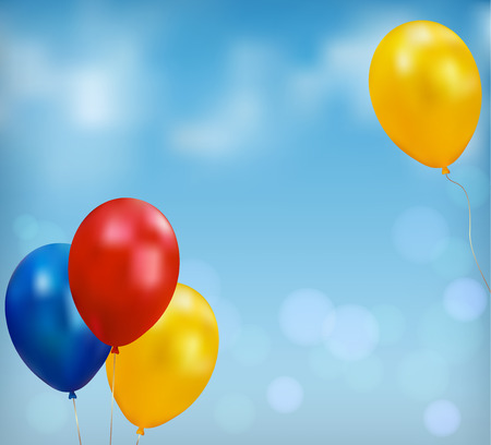 Holiday background  Light blue sky background and balloons  Vector Vector