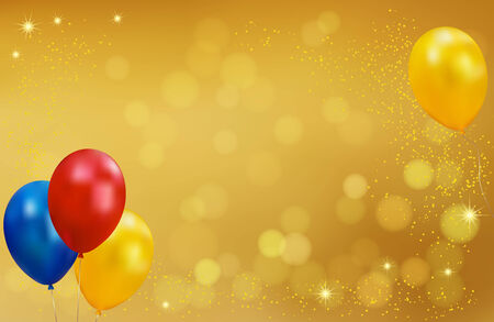 Holiday gold background with balloons  Golden background decorated with balloons and confetti  Vector Vector