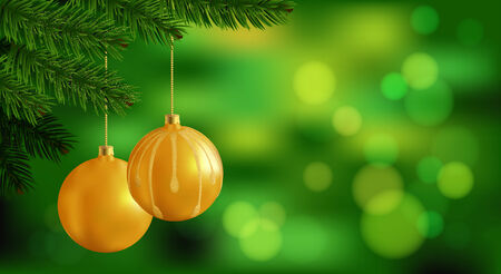 Merry Christmas background  Holliday green blurred background with realistic spruce branch and golden Xmas balls  Vector Vector
