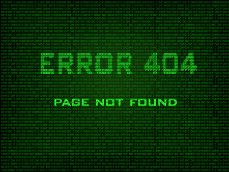 error message: Error 404 Page not found  Error message in the form of binary code  Vector