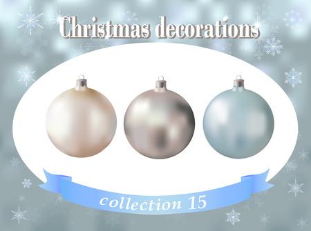 christmas decorations collection of white silver and light blue glass balls set of