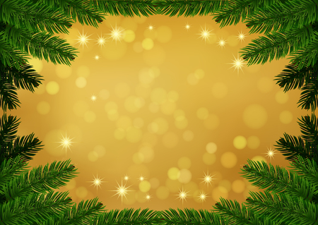Christmas fir frame gold background. Holiday Bokeh background decorated with spruce branches. Vector. Vector