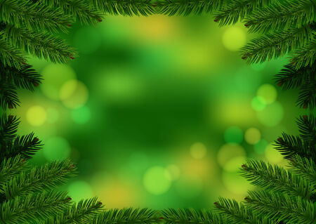 Christmas fir frame green background. Holiday Bokeh background decorated with spruce branches. Vector Vector