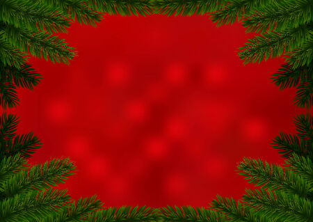 Christmas fir frame red background. Holiday background decorated with spruce branches. Vector. Vector