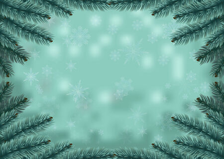Christmas fir frame snow background. Holiday  background decorated with spruce branches. Vector. Vector