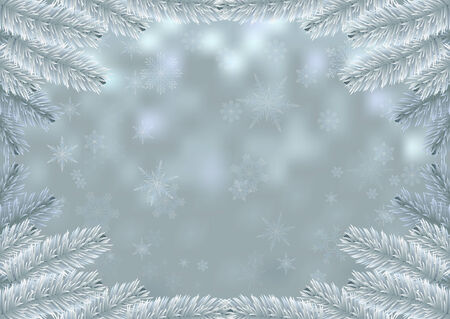Christmas white fir frame snow background. Holiday background decorated with spruce branches. Vector.   Vector