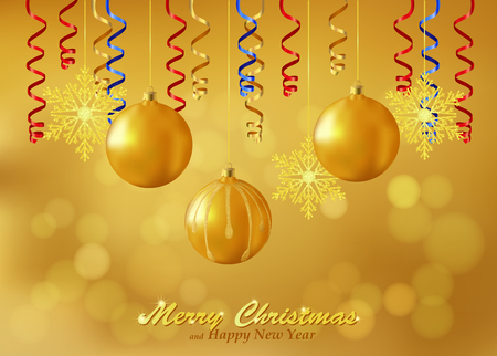 Holiday gold background with Christmas ornaments. Christmas background decorated with glass balls, snowflakes and paper streamers. Vector. Vector