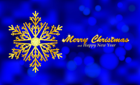 Merry Christmas blue background with snowflake. Holiday Bokeh background decorated with shining snowflake. Vector Vector