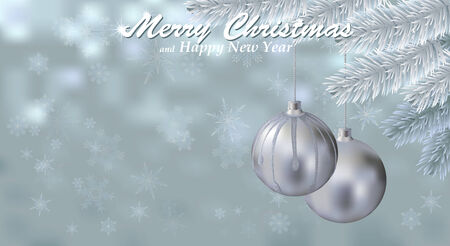Merry Christmas snow background with silver balls. Holiday snowy background decorated with spruce branch and Christmas ornaments. Vector. Vector
