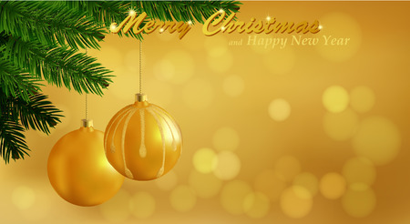 Merry Christmas gold background. Holiday Bokeh background decorated with spruce branch and Christmas ornaments. Vector. Vector