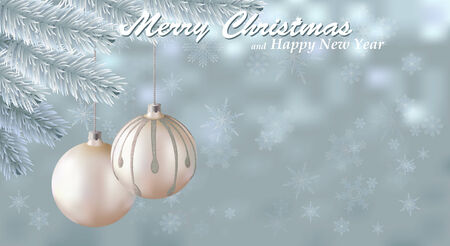Merry Christmas snow background. Holiday snowy background decorated with spruce branch and Christmas ornaments. Vector Vector